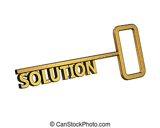 golden key with word solution on a white background