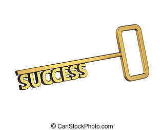 golden key with word success on a white background