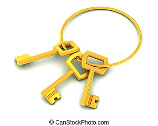 golden keys 3d illustration