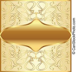 gold(en), légume, cadre, ornement, fond
