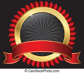 Golden label with red ribbon, vector