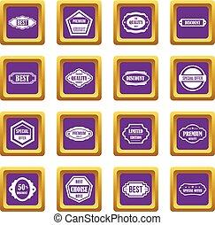 Golden labels icons set purple