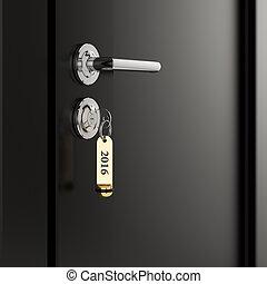 Golden lable 2016 key in the door