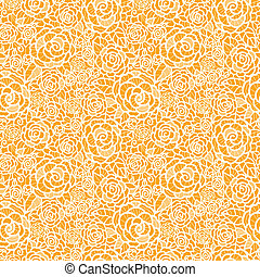 Golden lace roses seamless pattern background - Vector...