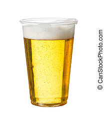 Golden beer, ale or lager in a plastic disposable cup or glass for party concert or by pool for safety