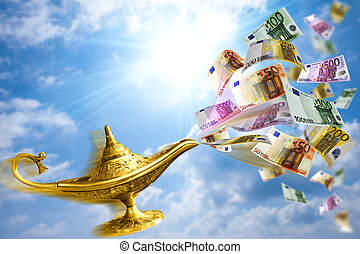 Golden lamp and money - Golden Aladdin lamp with money ...