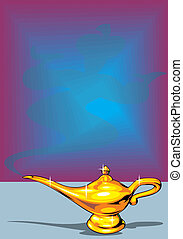 golden lamp - illustrated golden Aladdin's lamp as...