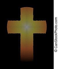 Golden latin cross radial dot pattern illustration