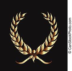 Golden laurel isolated vector design illustration