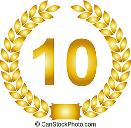 golden laurel wreath 10 years - illustration of a golden ...