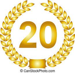 golden laurel wreath 20 years - illustration of a golden...
