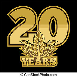 Golden laurel wreath 20 years