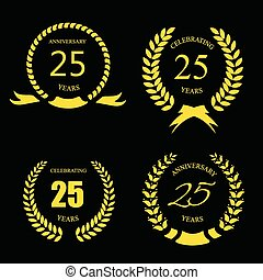 Golden laurel wreath 25 years set -   jubilee,  twenty five  anniversary
