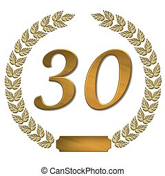 golden laurel wreath 30