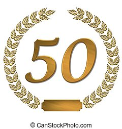 golden laurel wreath 50