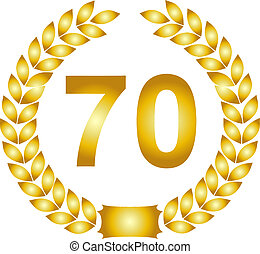 golden laurel wreath 70 years - illustration of a golden...