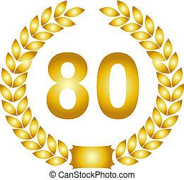 golden laurel wreath 80 years