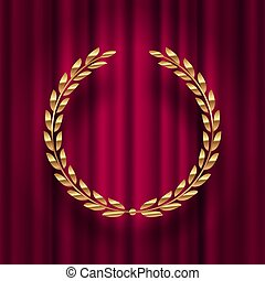 Golden laurel wreath  against a red curtain background.