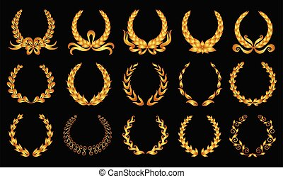 Golden laurel wreath. Collection of different black circular laurel, olive, wheat wreaths depicting an award, achievement, heraldry, nobility. Vector premium insignia, traditional victory symbol