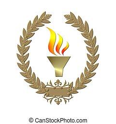 golden laurel wreath with flame