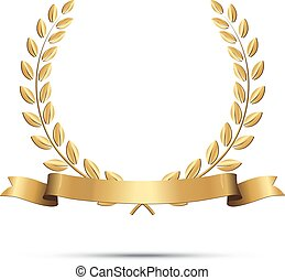 Golden laurel wreath with ribbon isolated on white background. Vector design element