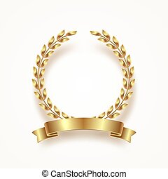 Golden laurel wreath with ribbon