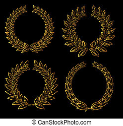 Golden laurel wreaths - Set of golden laurel wreaths for...