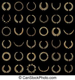 Golden laurel wreaths - Set of gold award laurel wreaths and...