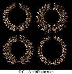 Golden laurel wreaths - Set of golden laurel wreaths for ...