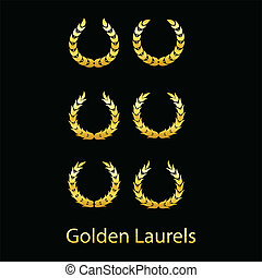 Golden laurels on black background. Vector illustration.