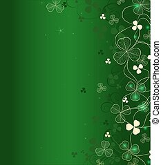 golden leaf clover on green background