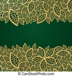 Golden leaf lace on green