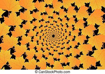 Golden leaf of sycamore on black background - vector...