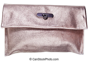 golden leather clutch bag isolated on white background