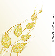 golden leaves - Decorative background with golden leaves