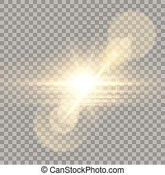 Golden lens flare camera effect