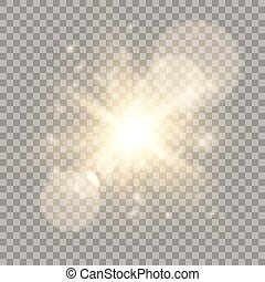 Golden lens flare light effect