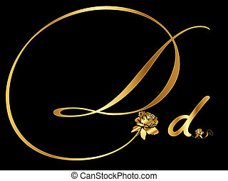 Golden letter D vector with rose