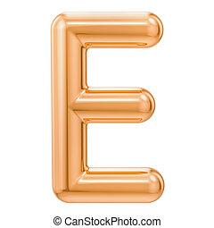 Golden letter E, 3D rendering