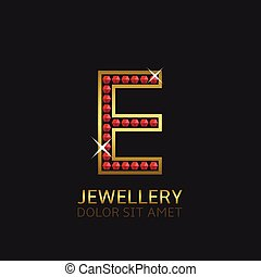 Golden Letter E logo with red precious stones. Luxury, royal...