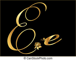 Golden letter E vector with rose