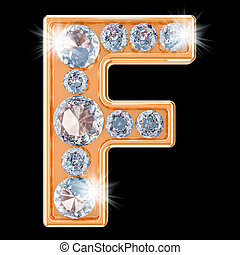 Golden letter F with diamonds. 3D rendering
