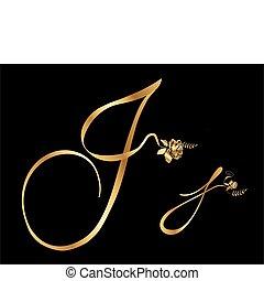 Golden letter J with roses collection
