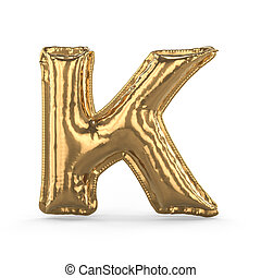 Golden letter K made of inflatable balloon isolated. 3D