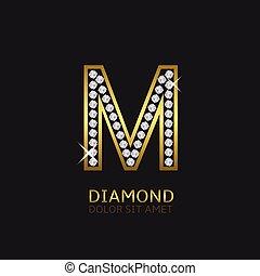 Golden letter M - Golden metal letter M logo with diamonds....
