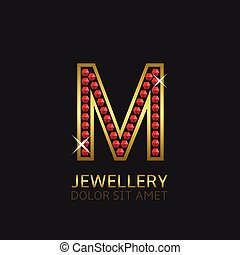 Golden Letter M logo with red precious stones. Luxury, royal...