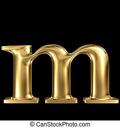 Golden letter m lowercase high quality 3d render isolated on...