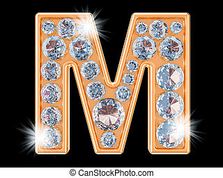 Golden letter M with diamonds. 3D rendering