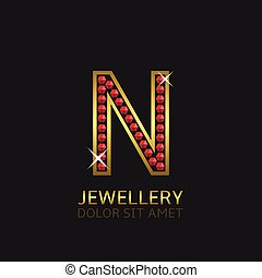 Golden Letter N logo with red precious stones. Luxury, royal...