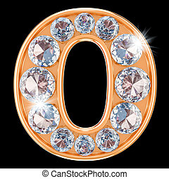Golden letter O with diamonds. 3D rendering